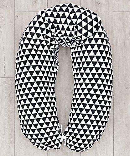 LOOLAY® Stillkissen XXL SUPER WEICH Lagerungskissen Seitenschläferkissen ink.Bezug 170 cm (Dreiecke schwarz)