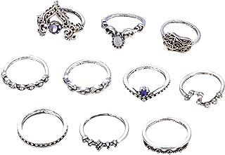 AMdxd 10 Pcs Women Ring Set Crown Buddha Purple Zirconia Midi Ring Silver Vintage Rings Set