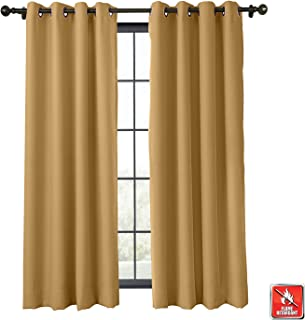 TWOPAGES Fireproof Curtain Blackout Thermal Insulated Blackout Curtain with Grommet, Window Treatment Fire Resistant Curtain (Khaki, 1 Panel, W50 x L72 Inches)