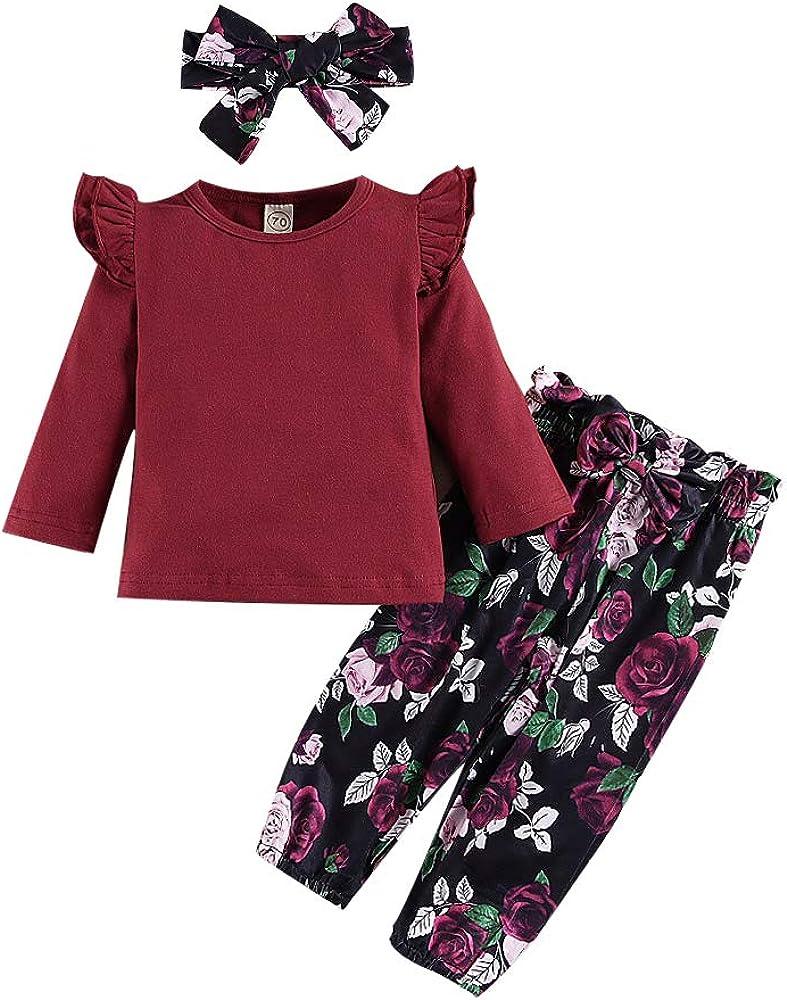 3Pcs Toddler Baby Girls Outfit Sets,Long Sleeves Ruffle Tops+ Floral Pants +Floral Bowknot Headband Fall Winter Set