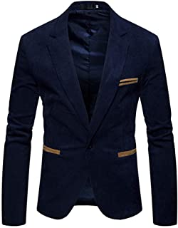 pipigo Mens Faux-Leather Modern Button Front Overcoat Blazer Suit Jacket Dark Blue Medium