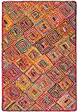 Indian Arts Chindi-Teppich, Jute und Baumwolle, Diamantmuster, Jute, mehrfarbig, 90 x 150 cm