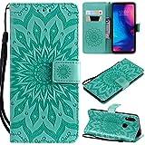KKEIKO Hülle für Xiaomi Redmi Note 7, PU Leder Brieftasche Schutzhülle Klapphülle, Sun Blumen Design Stoßfest Handyhülle für Xiaomi Redmi Note 7 - Grün