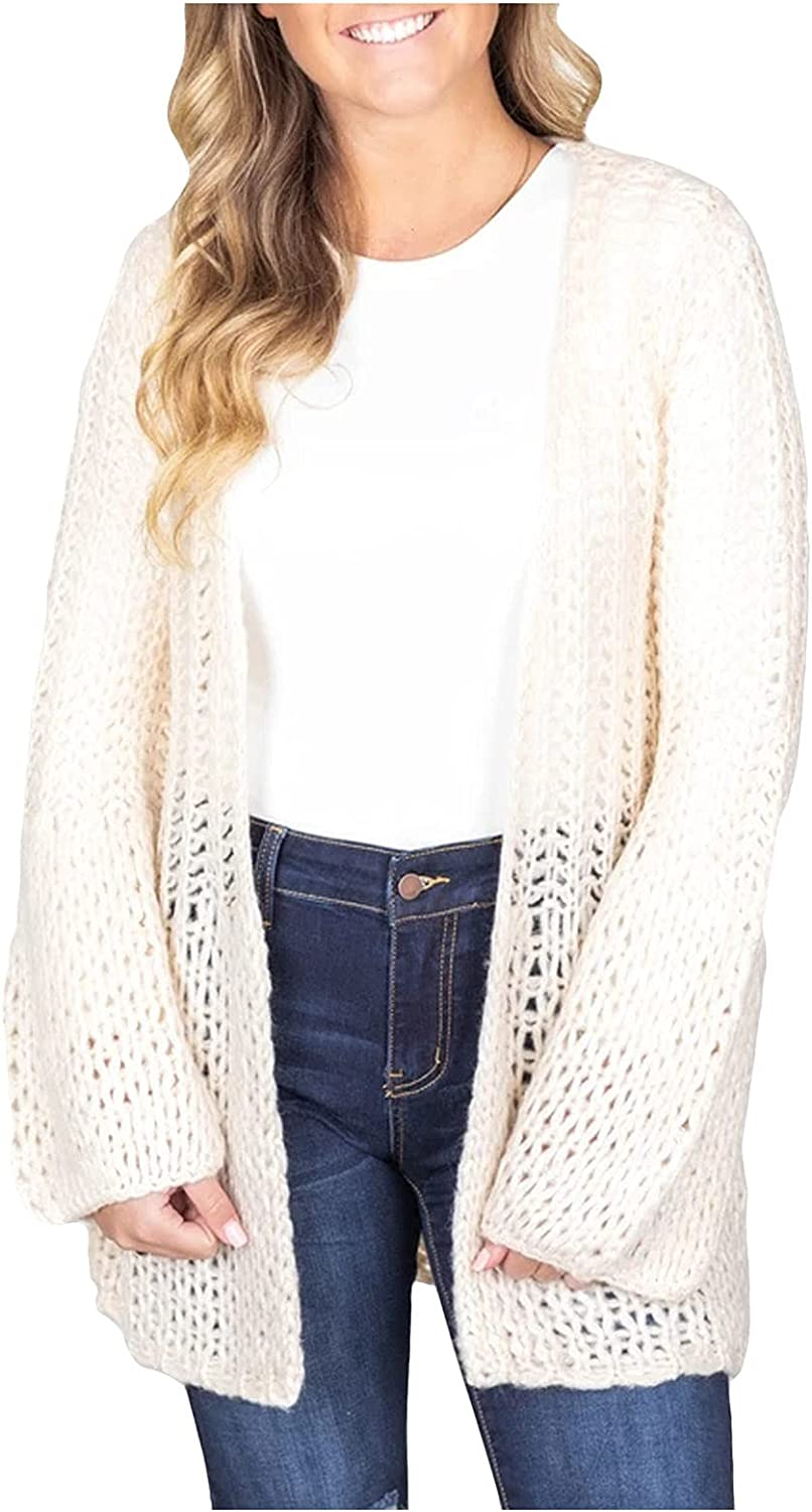 VonVonCo Cardigan Sweaters for Women Knit Sweater Blouse Hollow Knit Wear Long Pure Sweater Cardigan Blouses