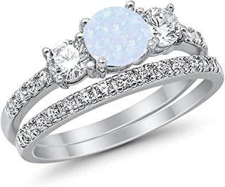 Blue Apple Co. 3-Stone Wedding Bridal Set Ring Band Round Created Opal CZ 925 Sterling Silver Choose Color