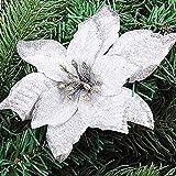 asdomo 10pcs colgante árbol de Navidad decoración 13cm brillante colorido flores con nieve para Navidad adornos de Navidad boda Decors, seda sintética, Blanco, 10*13cm