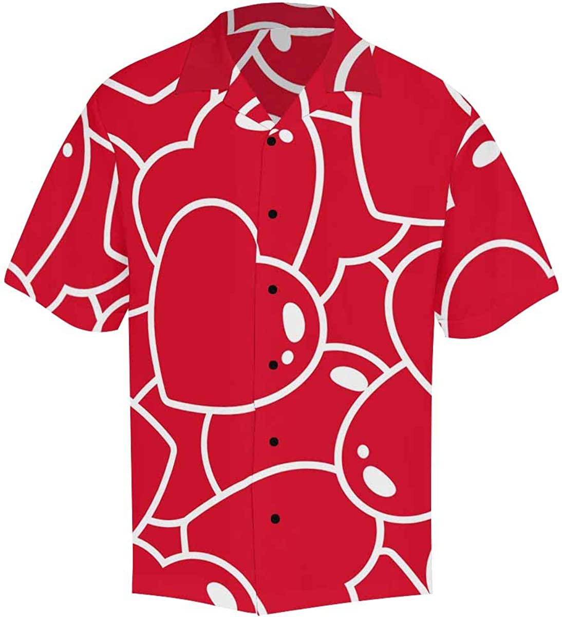 InterestPrint Men's Casual Button Down Short Sleeve Scary Skull Hawaiian Shirt (S-5XL)