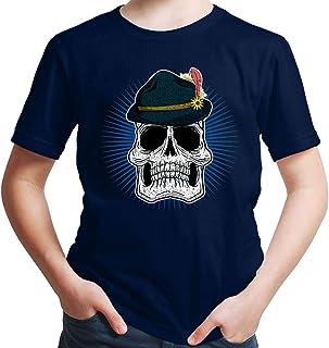 HARIZ Jungen T-Shirt Totenkopf Mit Wiesnhut Oktoberfest Outfit Tracht Dirndl Lederhosn Plus Geschenkarte