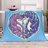 Manta de Microfibra Mantas para Sofás Un Par De Unicornios Azules 150x200 cm Microfibre Extra Suave Multifuncional para Sofá Cama Viajes Adultos Niños Animales
