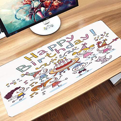 Gaming-Mauspad Gummiunterseite,Geburtstag Dekorationen für Kinder, Kindergarten Kinder Feier festliche Torte,Schreibtischunterlage Abwischbar Anti Rutsch Matte Multifunktionales Office Mousepad60x35cm