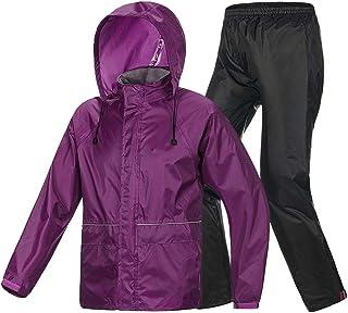 YQRYP Ride Row Raincoat Rain Pants Suit, Singl Men and Women Travel Equipment Poncho,Split Raincoat (Color : Purple, Size : M)