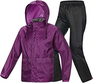 ZXAZBHD Ride Row Raincoat Rain Pants Suit, Singl Men and Women Travel Equipment Hiking,Camping (Color : Purple, Size : S)