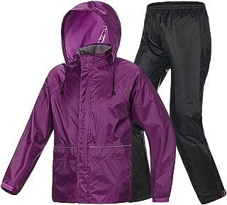 ZXAZBHD Ride Row Raincoat Rain Pants Suit, Singl Men and Women Travel Equipment Hiking,Camping (Color : Purple, Size : L)