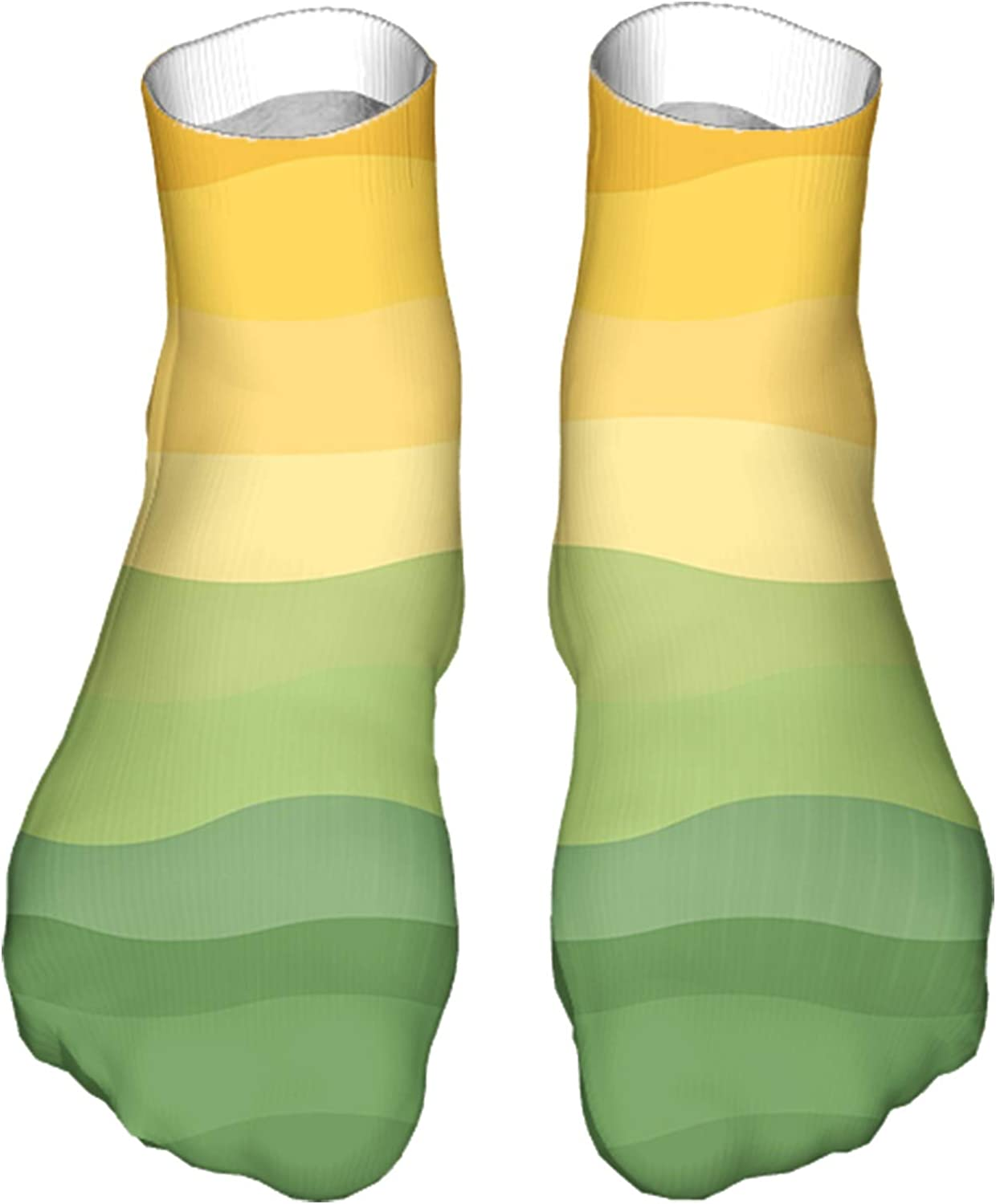 Men's and Women's Funny Casual Socks Green and Yellow Colored Wavy Lines Curves Earth Inspired