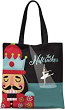 Semtomn Canvas Tote Bag Colorful Christmas Nutcracker Cartoon Wooden Soldier Toy From the Durable Reusable Shopping Shoulder Grocery Bag