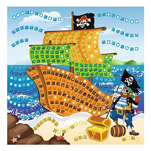 Ursus 8420005 - Moosgummi Mosaikbild, Pirat mit Glitter, 434-teilig, bunt