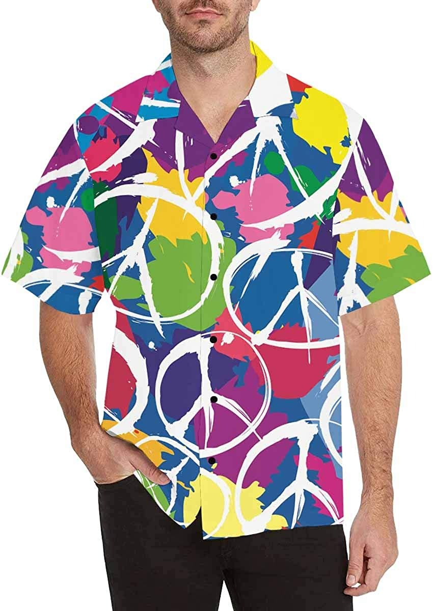 InterestPrint Men's Casual Button Down Short Sleeve Rainbow Love Peace Lettering Hawaiian Shirt (S-5XL)