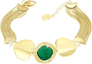 Gabriela Rigamonti Jewels-Bracciale in Oro giallo 18kt con gemma quarzo smeraldo naturale.