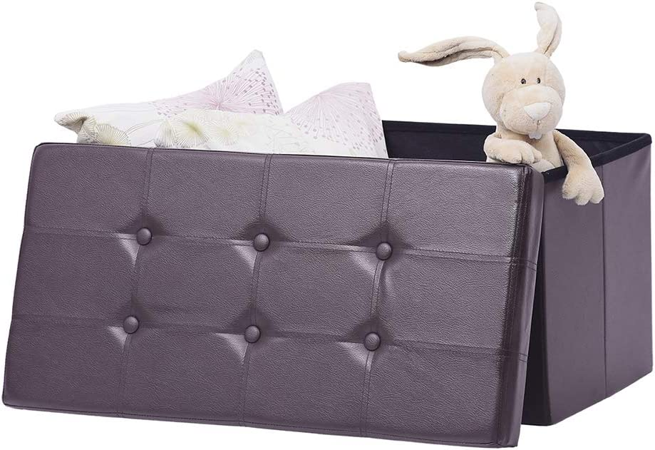AuAg Folding Sales results No. 1 Popular overseas Storage Ottoman Bench Faux Chest Box Wi Toy Leather