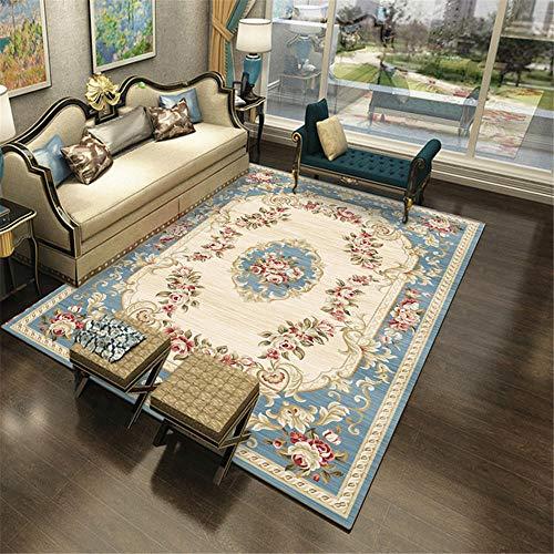 Kunsen Alfombra Antideslizante alfombras Salon Alfombra de Estilo Chino en la Sala de Estar Azul Beige no defeme ni se desvanece alfombras oficinas 160X200CM 5ft 3' X6ft 6.7'