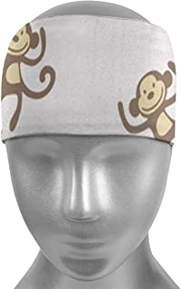 Gcaibai Bandas para el Pelo de Monos y plátanos de Dibujos Animados, Bandas elásticas Transpirables de Secado rápido y absorbentes, Banda para la Cabeza elástica Antideslizante