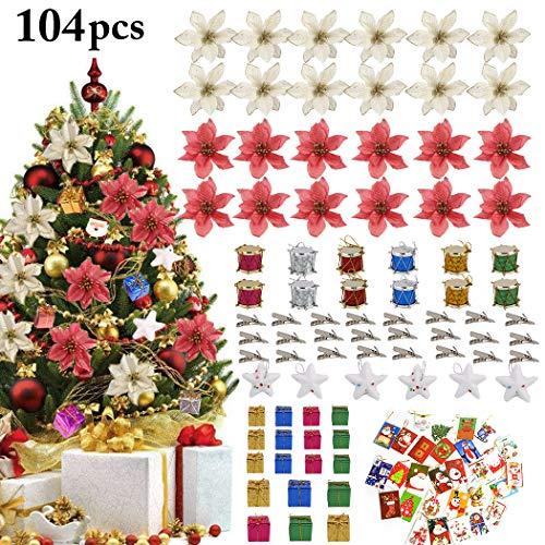 Justdolife 104 PCS Glitter Fiore Artificiale Fiori di Albero di Natale Ornamento di Decorazione Fiore Falso di Natale Ornamento per Natale Albero Partito Matrimonio