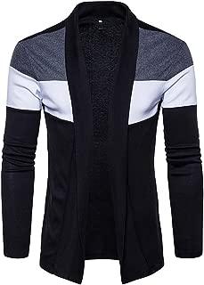 Toimothcn Cardigan Mens Knit Sweater Slim Fit Fashion Patchwork Open Coat Jacket Lightweight