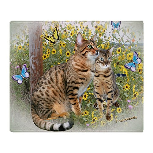 CafePress Bengal Cats and Butterflies Soft Fleece Throw Blanket, 50'x60' Stadium Blanket