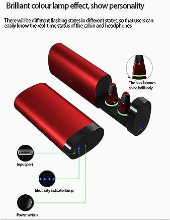CAOQAO- Mini Auriculares inalámbricos Bluetooth 5.0 Auriculares con Bajos Verdaderos Estéreo Auriculares intrauditivos Micrófono Caja Especial diseñada (Free Size, Rojo)