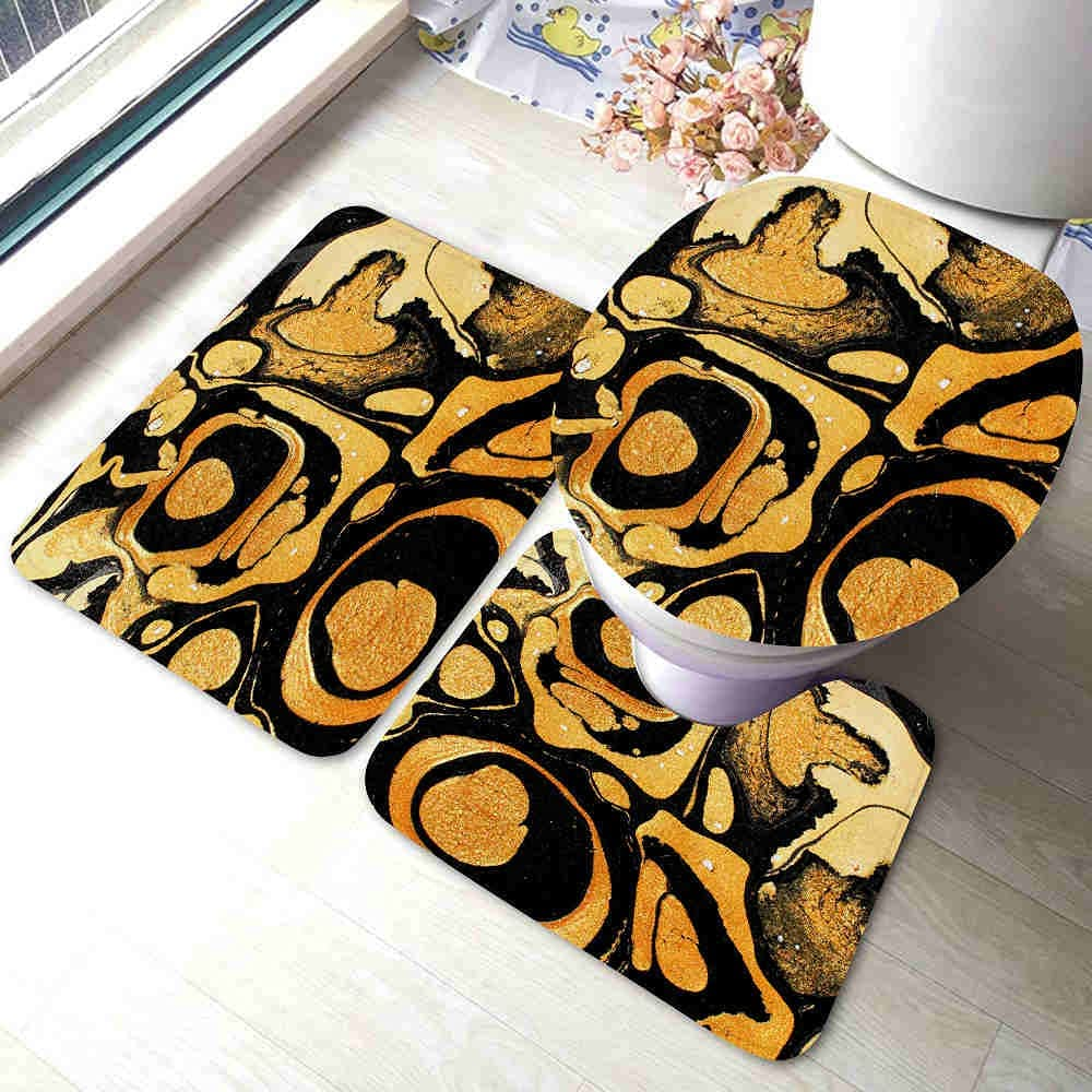 Ink Ranking TOP11 Marble Ranking TOP11 Gold and Black Bath Rugs for Sets 3 Piece Bathroom So