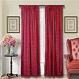 LGHome Buffalo Plaid Curtains-Farmhouse Curtains-Buffalo Plaid Décor-Buffalo Check Curtains-Country Curtains-Buffalo Check Décor-Farmhouse Kitchen Curtains-Black and Red,53x96inch