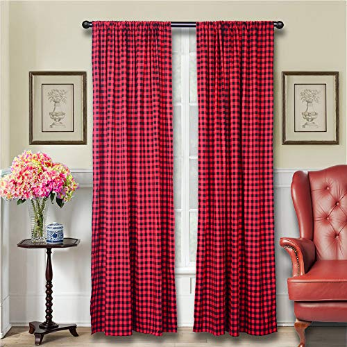 LGHome Red and Black Buffalo Plaid Check Curtains Window Treatment Farmhouse French Style Look, 53x108inch, Pack of One Pair