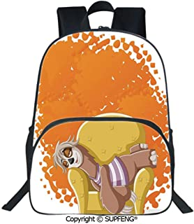 Square Front Bag Backpack Lazy Female Cartoon Sloth on Sofa Napping on Couch Dreaming Mascot Speech Bubble Decorative (15.75