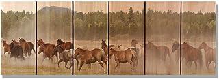 GizaunアートWild Horses内側/外側壁アート、フルカラーon Cedar 32-Inch by 11-Inch WH3211
