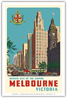 Melbourne, Victoria Australia - Seventh City of The Empire - Vintage World Travel Poster by Percy Trompf c.1940 - Master Art Print - 12in x 18in