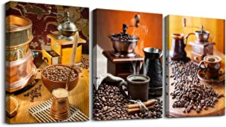 Kitchen Canvas Art Warm Coffee Prints Wall Art Coffee Bean Cup Pictures Paintings for Dining Room Kitchen Bar Home Decorations 3Panels Large Modern Stretched and Framed Contemporary Food Artwork decor