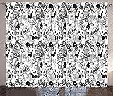 ABAKUHAUS En Blanco y Negro Cortinas, patrón Adolescente, Sala de Estar Dormitorio Cortinas Ventana Set de Dos Paños, 280 x 245 cm, Blanco Negro