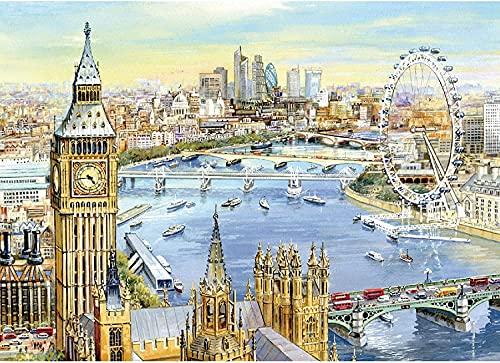 Puzzle 2021 1000 piezas rompecabezas de 1000 piezas grandes rompecabezas para adultos Big Ben y The Eye of London City View Ferris Wheel 1000 piezas rompecabezas por el artista Joseph Burgess