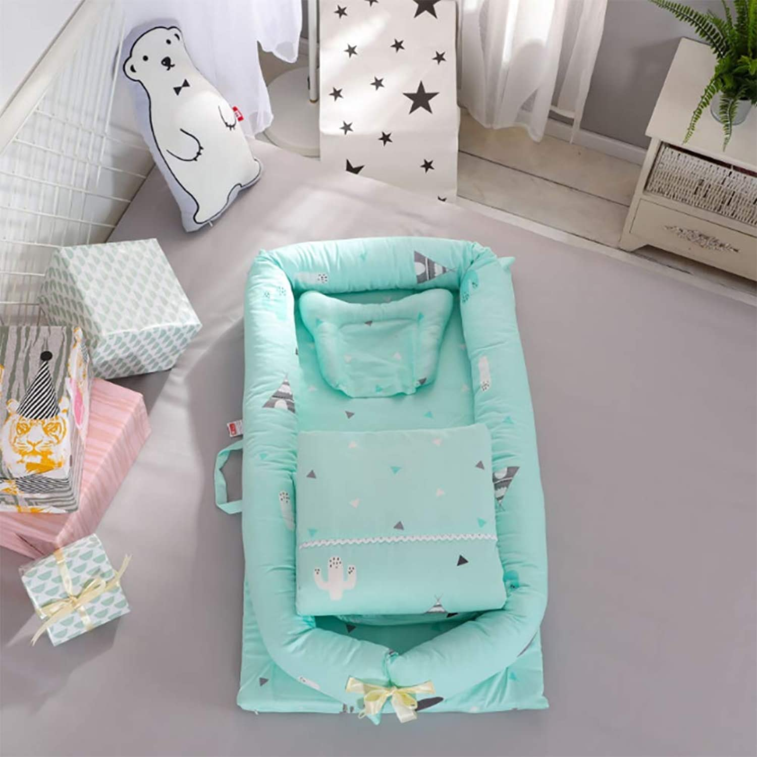 Crib Cotton Multi-Function Folding Portable Travel Baby Bionic Crib Suitable for Age 0-24 Months Baby (Removable Quilt),L