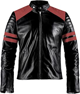 ST- Mayhem Black Leather Motorcycle Jacket with White or Red Design - Tyler Durden Slim Fit Faux Leather Biker Jacket for Men