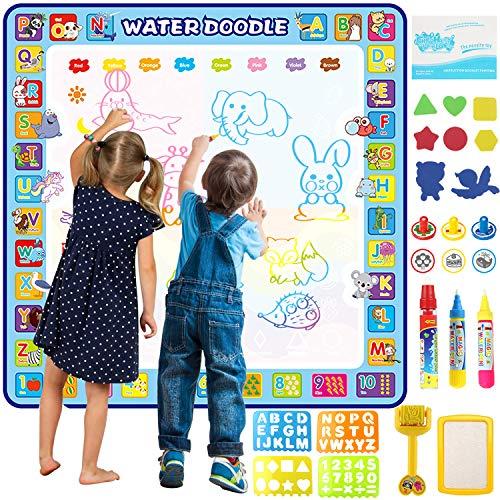 Tobeape® 100 x 100 cm extra große Aqua Magic Doodle-Malmatte, Lernspielzeug Buntes Wasser-Kritzelmatte, Zeichnungsspielzeug für 2-6 Jahre mit 3 magischen Stiften, Stempelset