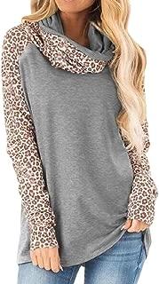 Women's Long Sleeve Tops Patchwork Cowl Neck Tunics Casual Elegant Leopard Shirts