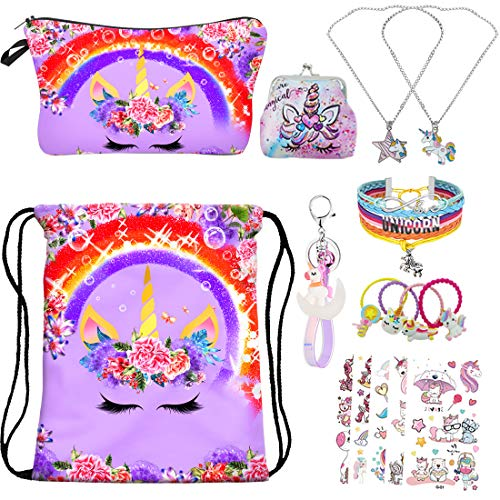RLGPBON Gifts for Girls,Unicorn Drawstring Backpack with Makeup Bag,Unicorn Necklace,Bracelet,Hair Ties,Coin Purse ect.