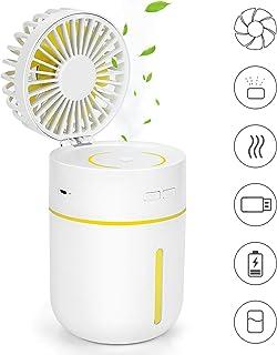 KONKY Ventilador USB Humidificador Ventilador Portatil Mini Ventilador Sobremesa con 3 Modos de Trabajo y Humidificador USB, 180 Grados de Rotación para Casa, Oficina y Viaje, Blanco