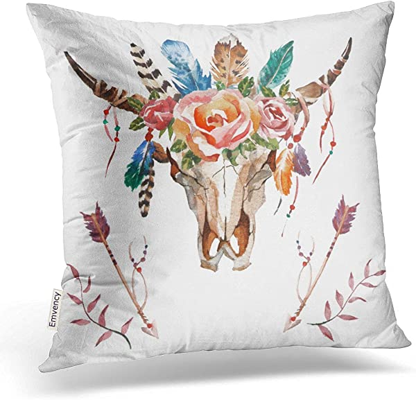 Emvency Decorative Throw Pillow Cover Case For Bedroom Couch Sofa Home Decor Watercolor Bull Head With Flowers And Feathers Boho Style Skull Square 18x18 Inches Bohemian