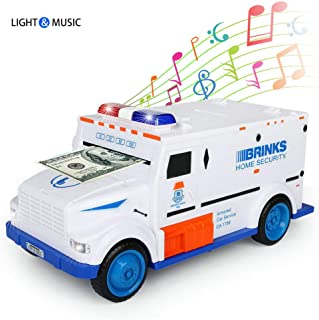 GuDoQi Armored Car Bank Password Piggy Bank with Music and Light Electronic Money Bank Toy Car Birthday Gifts for Kids