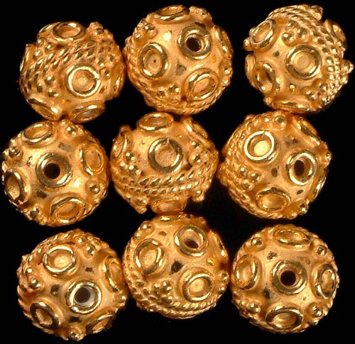 Gold Plated Fine Beads with Knotted Rope and Wirework (Price Per Pair) - Sterling Silver