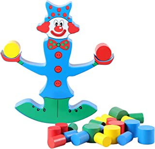 STOBOK Kids Wooden Puzzle Toy Colorful Clown Balance Beam Building Balancing Game