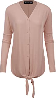 BH B.I.L.Y USA Women's V-Neck Button Down Long Sleeve Soft Classic Knit Cardigan - Pink - Small