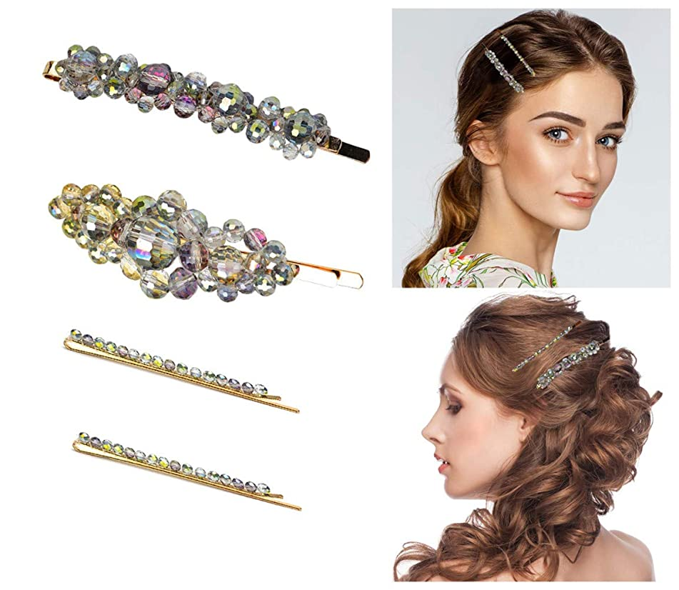 Pearls Hair Clips for Women Girls - 4pcs Large Bows/Clips/Ties for Birthday Anniversary Gifts for Bridesmaid Bride Bling Hairpins Headwear Barrette Styling Tools Accessories